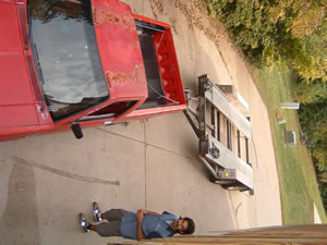 The little S-10 that could, leashed to the car trailer