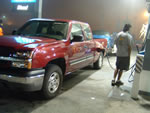 Refilling the huge gas tank on the truck...again